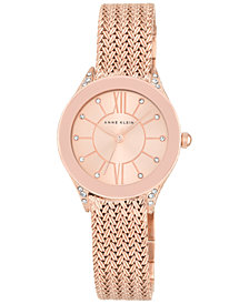 Anne Klein Women's Rose Gold-Tone Stainless Steel Mesh Bracelet Watch 30mm AK-2208RGRG