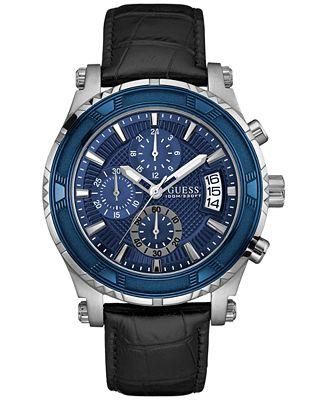 GUESS Men's Chronograph Black Leather Strap Watch 46mm U0673G4