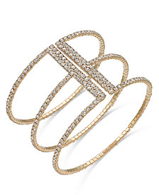 I.N.C. Gold-Tone Crystal Triple Row Flex Bracelet, Created for Macy's