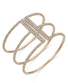 I.N.C. Gold-Tone Crystal Triple Row Flex Bracelet, Created for Macy's
