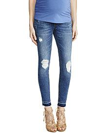 Indigo Blue Maternity Distressed Medium Wash Skinny Jeans