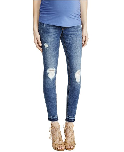 7a50411d3753f Motherhood Maternity Indigo Blue Maternity Distressed Medium Wash Skinny  Jeans ...