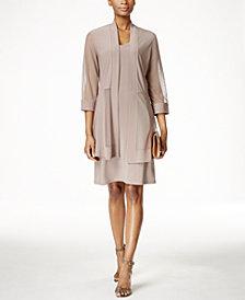R & M Richards Petite Metallic-Trim Shift Dress and Jacket