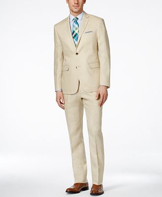 Perry Ellis Portfolio Men's Tan Slim-Fit Suit - Suits & Suit