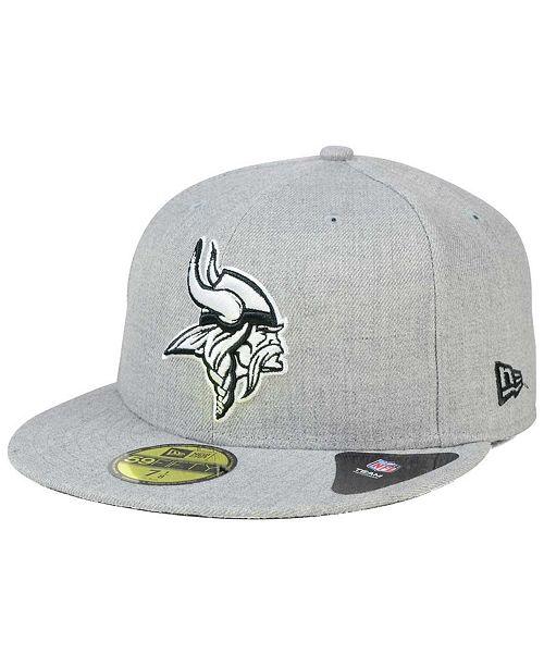 ... New Era Minnesota Vikings Heather Black White 59FIFTY Fitted Cap ... c812f4c2860