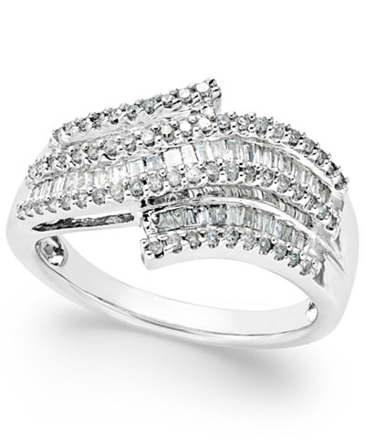 Diamond Wave Right Hand Ring 1 2 Ct T W In Sterling Silver