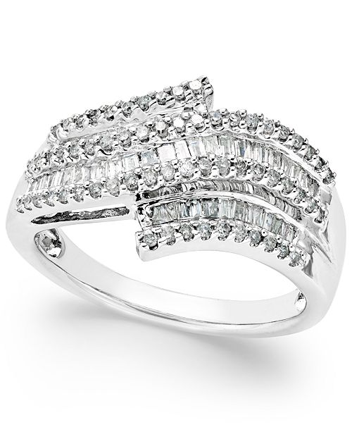 6d82ef1b9 Macy's Diamond Wave Right Hand Ring (1/2 ct. t.w.) in Sterling Silver ...