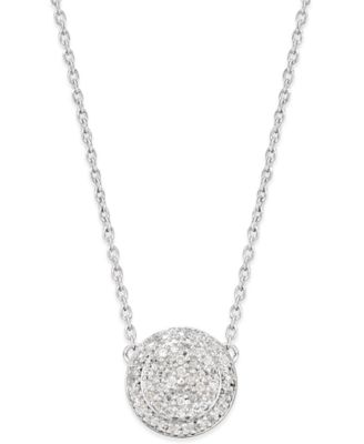 Image of Diamond Cluster Disc Pendant Necklace (1/5 ct. t.w.) in Sterling Silver