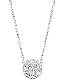 Diamond Pave' Cluster Disc Pendant Necklace (1/5 ct. t.w.) in Sterling Silver