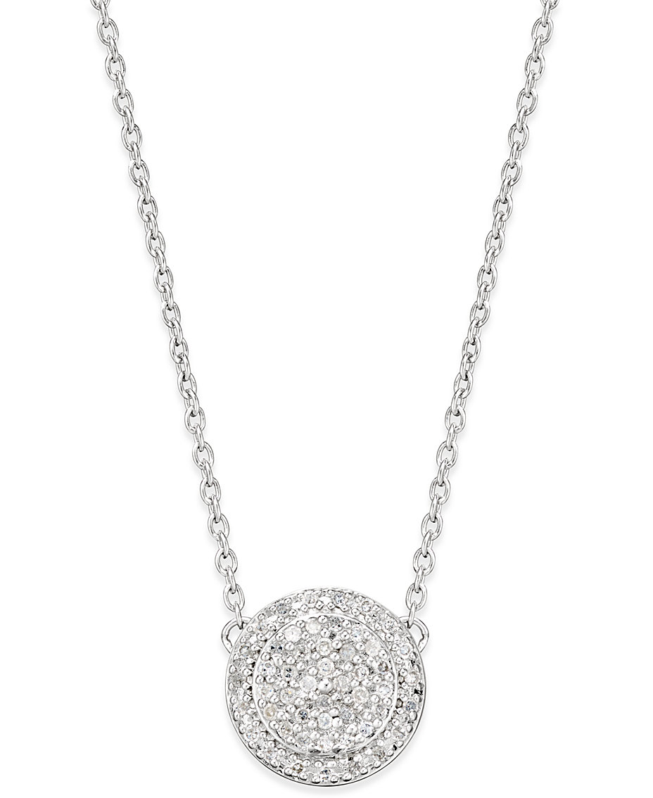 b21ee8a99f77a Macy's Diamond Pave' Cluster Disc Pendant Necklace (1/5 ct. t.w.) in ...