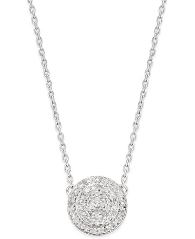 Diamond cluster disc pendant necklace 15 ct tw in sterling diamond cluster disc pendant necklace 15 ct tw in sterling silver mozeypictures Gallery