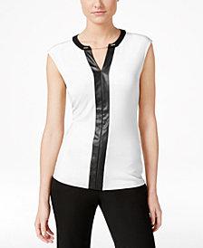 Calvin Klein Contrast-Trim Chain-Neck Top