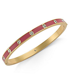 kate spade new york Gold-Tone Crystal Enamel Hinged Bangle Bracelet