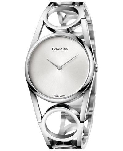 Calvin Klein Women's Swiss Round Stainless Steel Bracelet Watch 34mm K5U2M146