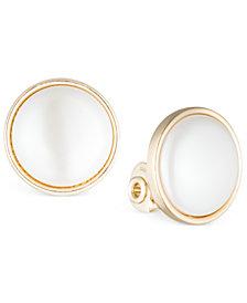 Anne Klein Gold-Tone Bezel-Set Stone E-Z Comfort Clip-On Earrings