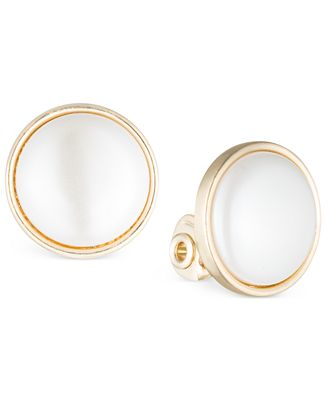 Anne Klein Gold Tone Bezel Set Stone E Z Comfort Clip On Earrings