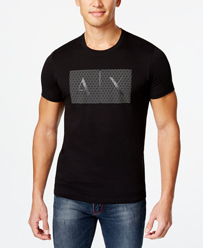 Armani Exchange Mens Triangulation Graphic Print Logo T