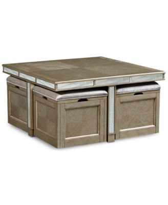 Ailey Cube Coffee Table with 4 Storage Ottomans Created for