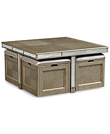 CLOSEOUT! Ailey Cube Coffee Table with 4 Storage Ottomans, Created for Macy's