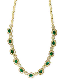 Brasilica by EFFY Emerald (4-3/4 ct. t.w.) and Diamond (2-3/4 ct. t.w.) Collar Necklace in 14k Gold, Created for Macy's