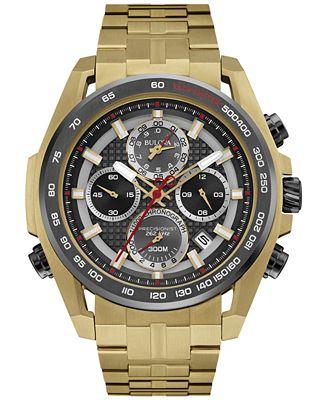 Bulova Men's Chronograph Precisionist Gold-Tone Stainless Steel Bracelet Watch 43mm 98B271