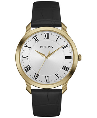 Men's Black Leather Strap Watch 41mm 97 A123 by Bulova