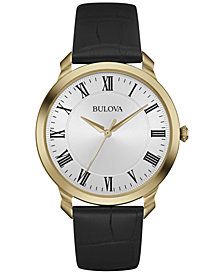 Bulova Men's Black Leather Strap Watch 41mm 97A123