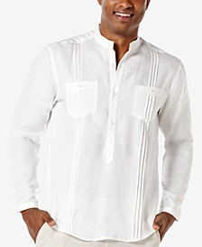 Men's 100% Linen Popover Long-Sleeve Shirt
