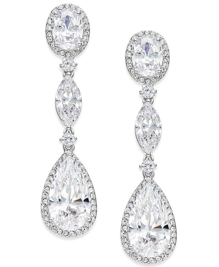 Eliot Danori - Silver-Tone Oval Crystal Drop Earrings