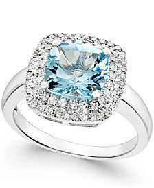 Aquamarine (1-7/8 ct. t.w.) and Diamond (1/3 ct. t.w.) Halo Ring 14k White Gold