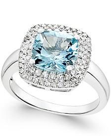 Aquamarine (1-7/8 ct. t.w.) and Diamond (1/3 ct. t.w.) Halo Ring 14k White Gold