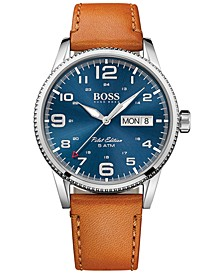 Hugo Boss Men's Pilot Brown Leather Strap Watch 44mm 1513331