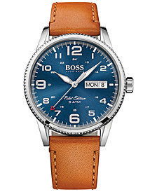 BOSS Hugo Boss Men's Pilot Brown Leather Strap Watch 44mm 1513331