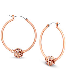GUESS Rose Gold-Tone Fireball Hoop Earrings