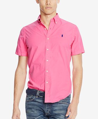 Polo Ralph Lauren Men's Short-Sleeve Silk Shirt - Casual Button ...
