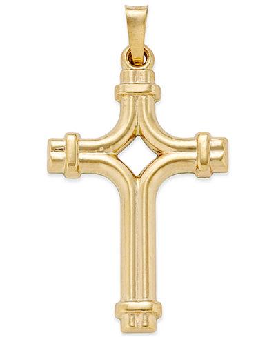 Decorative Tube Cross Pendant in 14k Gold