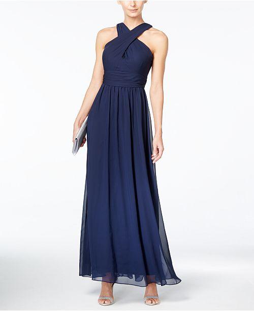 Adrianna Papell Adrianna By Crisscross Halter Gown