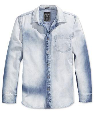 GUESS Men's Slim-Fit Fieriness-Wash Long-Sleeve Denim Shirt ...
