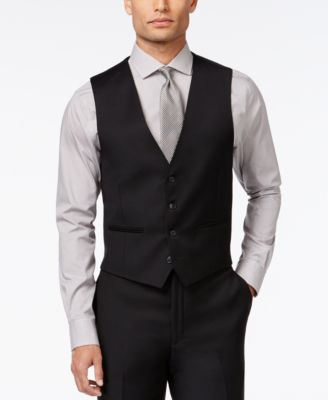 CLOSEOUT! Black Solid Modern Fit Vest