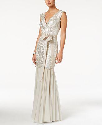 Tadashi Shoji Sequined Lace Mermaid Gown - Dresses - Women - Macy\'s