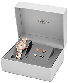 Fossil Women's Virginia Rose Gold-Tone Stainless Steel & Shimmer Horn Bracelet Watch & Stud Earrings Box Set 30mm ES3965SET