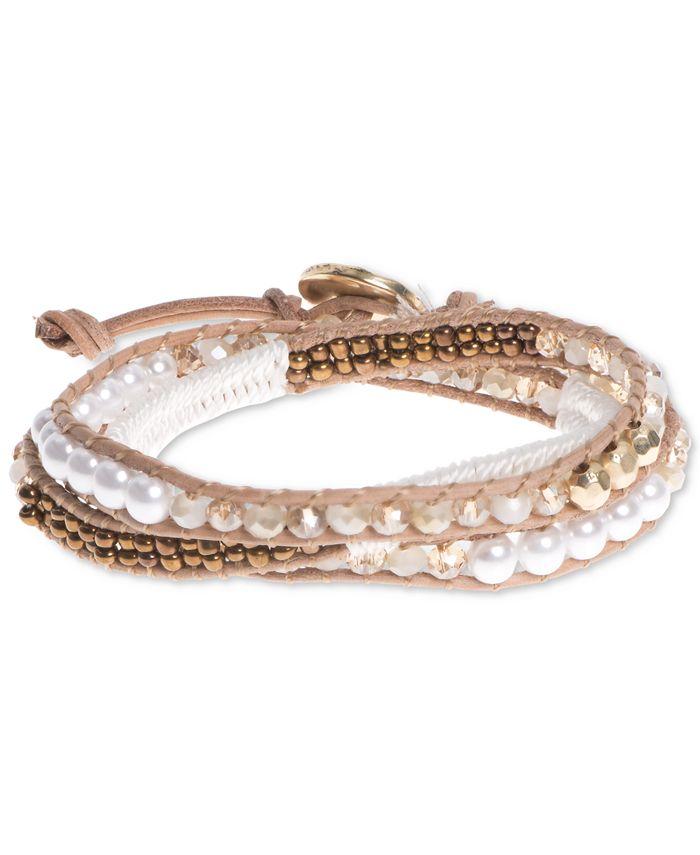 lonna & lilly - Gold-Tone White Beaded Wrap Bracelet