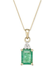 Emerald (1-3/4 ct. t.w.) and Diamond Accent Pendant Necklace in 14k Gold