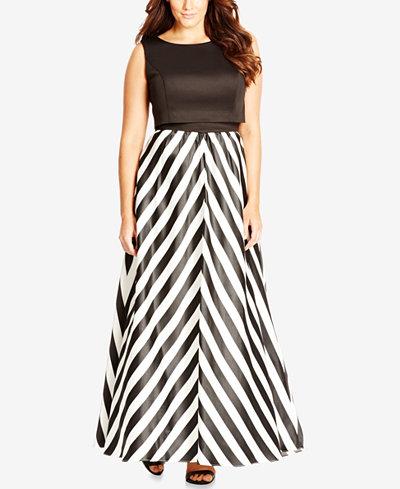 City Chic Plus Size Chevron-Print Satin Maxi Dress ...
