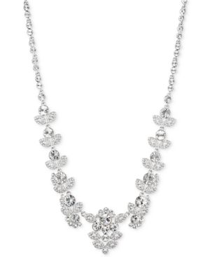 """16"""" Multi-Crystal Ornate Collar Necklace in Silver"""