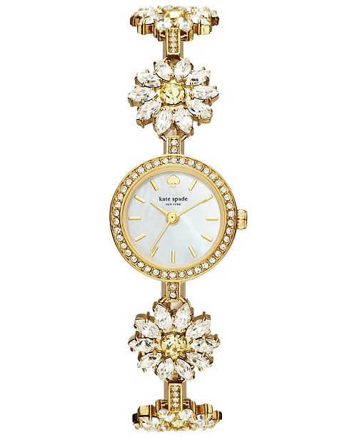 ... kate spade new york Women s Gold-Tone Stainless Steel and Crystal Daisy  Bracelet Watch 20mm ... be7a3378b6