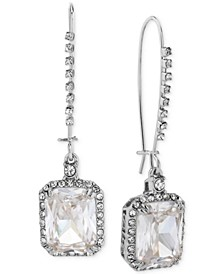Silver-Tone Crystal and Pavé Square Drop Earrings