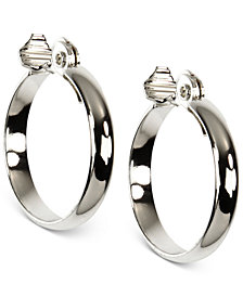 Anne Klein Silver-Tone E-Z Comfort Clip Wide Hoop Earrings