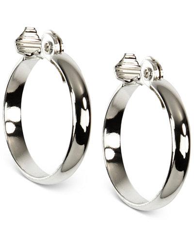 Anne Klein Silver-Tone Wide Hoop Earrings