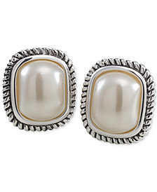 Carolee Silver-Tone Large Imitation Pearl Stud Earrings